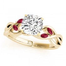 Twisted Cushion Rubies Vine Leaf Engagement Ring 14k Yellow Gold (1.00ct)