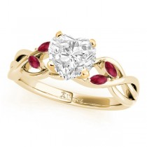Twisted Heart Rubies Vine Leaf Engagement Ring 14k Yellow Gold (1.00ct)