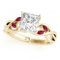 Twisted Princess Rubies Vine Leaf Engagement Ring 14k Yellow Gold (1.00ct)