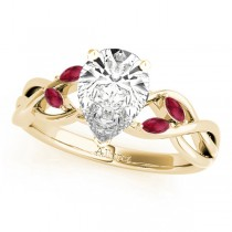 Twisted Pear Rubies Vine Leaf Engagement Ring 14k Yellow Gold (1.50ct)