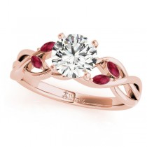 Twisted Round Rubies & Moissanite Engagement Ring 18k Rose Gold (1.50ct)