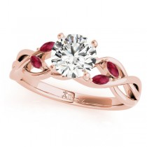 Twisted Round Rubies Vine Leaf Engagement Ring 18k Rose Gold (1.50ct)