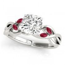 Twisted Cushion Rubies Vine Leaf Engagement Ring 18k White Gold (1.00ct)