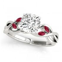 Twisted Cushion Rubies Vine Leaf Engagement Ring 18k White Gold (1.00ct)