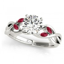 Twisted Round Rubies & Moissanite Engagement Ring 18k White Gold (0.50ct)
