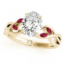 Twisted Oval Rubies Vine Leaf Engagement Ring 18k Yellow Gold (1.50ct)