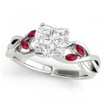 Twisted Heart Rubies Vine Leaf Engagement Ring Platinum (1.00ct)