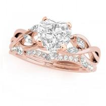 Twisted Heart Diamonds Bridal Sets 14k Rose Gold (1.23ct)