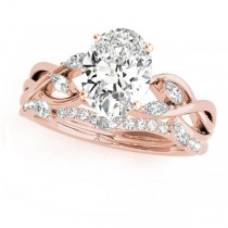 Twisted Oval Diamonds Bridal Sets 14k Rose Gold (1.23ct)