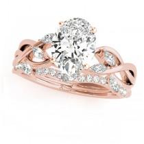 Twisted Oval Diamonds Bridal Sets 14k Rose Gold (1.73ct)
