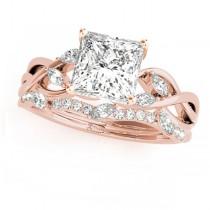Twisted Princess Diamonds Bridal Sets 14k Rose Gold (0.73ct)