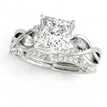 Twisted Princess Diamonds Bridal Sets 14k White Gold (1.23ct)