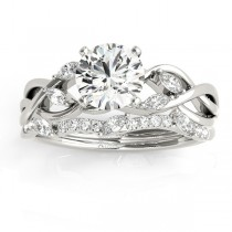 Diamond Marquise Vine Leaf Bridal Set Setting 14k White Gold (0.43ct)