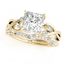 Twisted Princess Diamonds Bridal Sets 14k Yellow Gold (0.73ct)