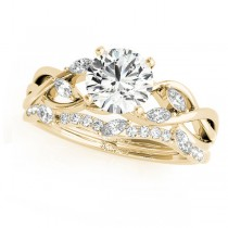 Twisted Round Moissanites Bridal Sets 14k Yellow Gold (1.73ct)
