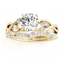 Diamond Marquise Vine Leaf Bridal Set Setting 14k Yellow Gold (0.43ct)