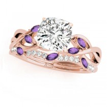 Twisted Cushion Amethysts & Diamonds Bridal Sets 14k Rose Gold (1.23ct)