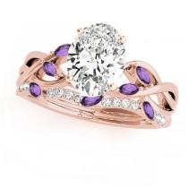 Twisted Oval Amethysts & Diamonds Bridal Sets 14k Rose Gold (1.23ct)