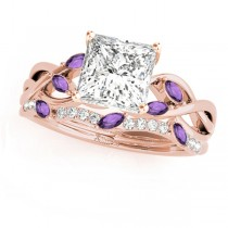 Twisted Princess Amethysts & Diamonds Bridal Sets 14k Rose Gold (1.73ct)