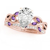 Twisted Pear Amethysts & Diamonds Bridal Sets 14k Rose Gold (1.23ct)