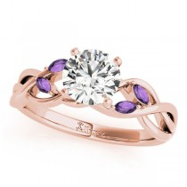 Twisted Round Amethysts & Diamonds Bridal Sets 14k Rose Gold (0.73ct)