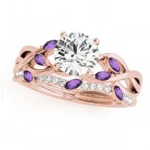 Twisted Round Amethysts & Diamonds Bridal Sets 14k Rose Gold (1.73ct)