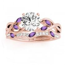Marquise Amethyst & Diamond Bridal Set Setting 14k Rose Gold (0.43ct)
