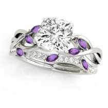 Twisted Cushion Amethysts & Diamonds Bridal Sets 14k White Gold (1.73ct)