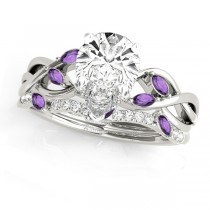Twisted Pear Amethysts & Diamonds Bridal Sets 14k White Gold (1.73ct)