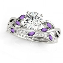 Twisted Round Amethysts & Moissanites Bridal Sets 14k White Gold (0.73ct)