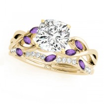 Twisted Cushion Amethysts & Diamonds Bridal Sets 14k Yellow Gold (1.23ct)