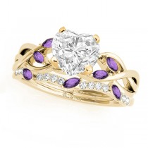 Twisted Heart Amethysts & Diamonds Bridal Sets 14k Yellow Gold (1.73ct)
