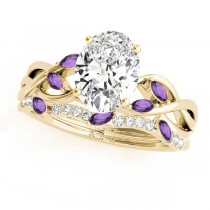 Twisted Oval Amethysts & Diamonds Bridal Sets 14k Yellow Gold (1.23ct)