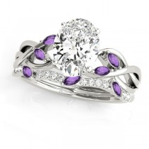 Twisted Oval Amethysts & Diamonds Bridal Sets 18k White Gold (1.73ct)