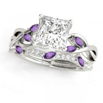 Twisted Princess Amethysts & Diamonds Bridal Sets 18k White Gold (1.23ct)