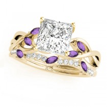 Twisted Princess Amethysts & Diamonds Bridal Sets 18k Yellow Gold (0.73ct)