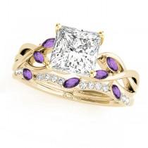Twisted Princess Amethysts & Diamonds Bridal Sets 18k Yellow Gold (1.23ct)