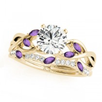 Twisted Round Amethysts & Diamonds Bridal Sets 18k Yellow Gold (1.23ct)