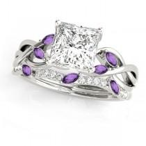 Twisted Princess Amethysts & Diamonds Bridal Sets Palladium (1.23ct)