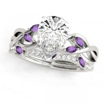 Twisted Pear Amethysts & Diamonds Bridal Sets Palladium (1.23ct)