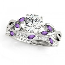 Twisted Round Amethysts & Diamonds Bridal Sets Palladium (1.23ct)