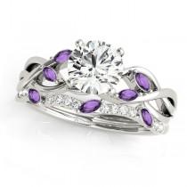 Twisted Round Amethysts & Diamonds Bridal Sets Palladium (1.73ct)