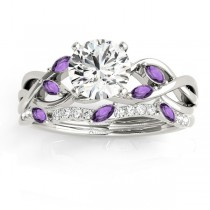 Marquise Amethyst & Diamond Bridal Set Setting Platinum (0.43ct)