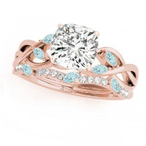 Twisted Cushion Aquamarines & Diamonds Bridal Sets 14k Rose Gold (1.23ct)