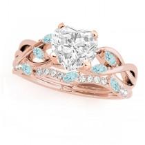 Twisted Heart Aquamarines & Diamonds Bridal Sets 14k Rose Gold (1.23ct)