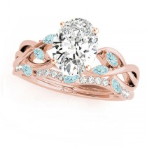 Twisted Oval Aquamarines & Diamonds Bridal Sets 14k Rose Gold (1.23ct)