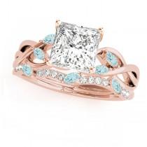 Twisted Princess Aquamarines & Diamonds Bridal Sets 14k Rose Gold (0.73ct)