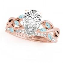 Twisted Pear Aquamarines & Diamonds Bridal Sets 14k Rose Gold (1.23ct)