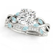 Twisted Cushion Aquamarines & Diamonds Bridal Sets 14k White Gold (1.23ct)
