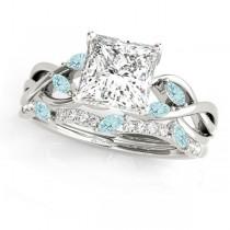Twisted Princess Aquamarines & Diamonds Bridal Sets 14k White Gold (0.73ct)